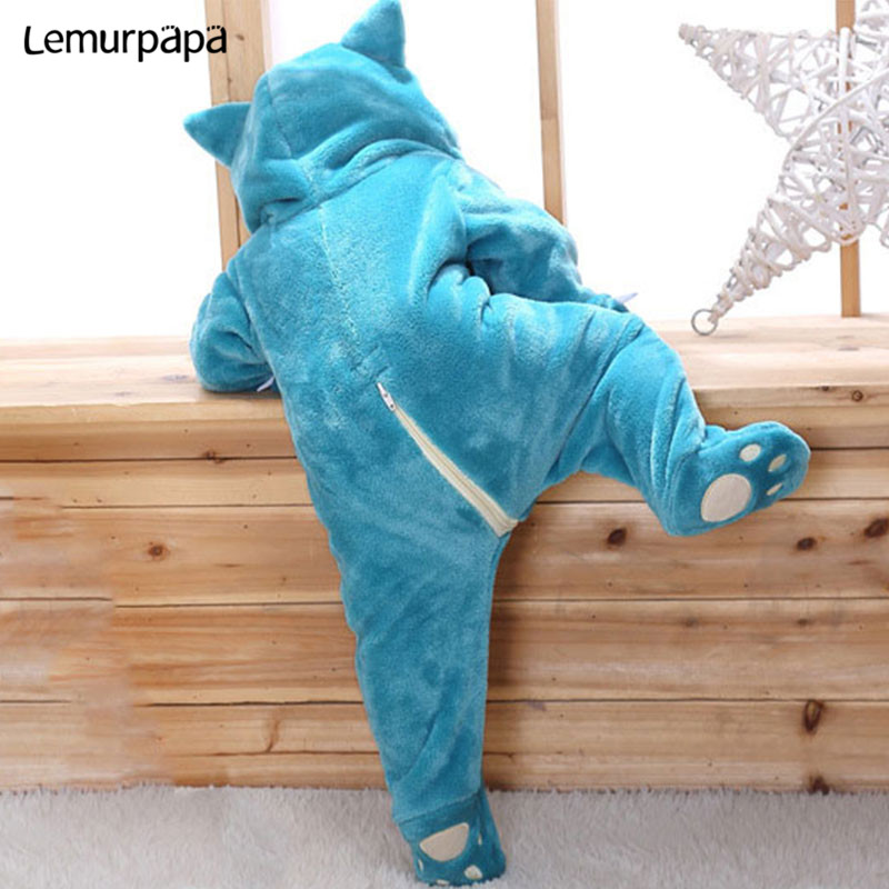 Image 2 - Snorlax Onesie Baby Romper Infant Cute Clothes 0 2 Y New Born Boy Girl Klgurumis Cartoon Funny Costume Pajama Soft Warm OutfitRompers   -