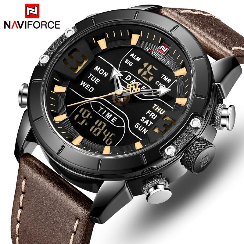 NAVIFORCE Watch Men Top Luxury Brand Leather Waterproof Quartz Wristwatches Military Sport Men's Watches Date Relogio Masculino