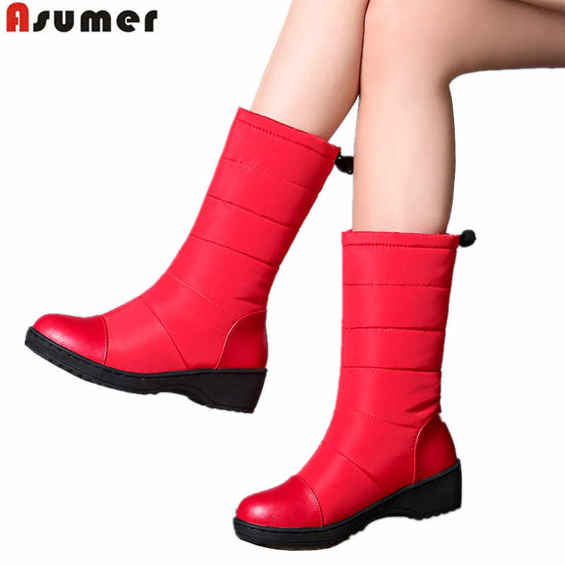 ASUMER artı boyutu 35-44 yeni kış kar botları kadın yuvarlak ayak platform ayakkabılar sıcak aşağı pamuklu ayakkabılar bayanlar orta buzağı kışlık botlar