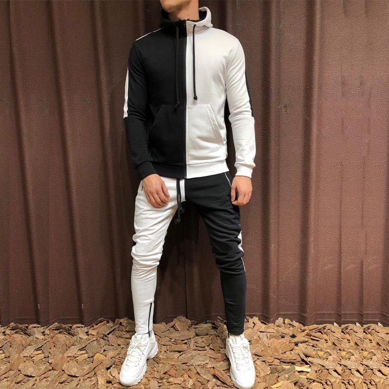 Two Pieces Set Men Half Black Half White Men's Sports Suit Autumn Winter Pant Sweatshirt Male Hoody Tracksuit Sweatsuit Outfit
