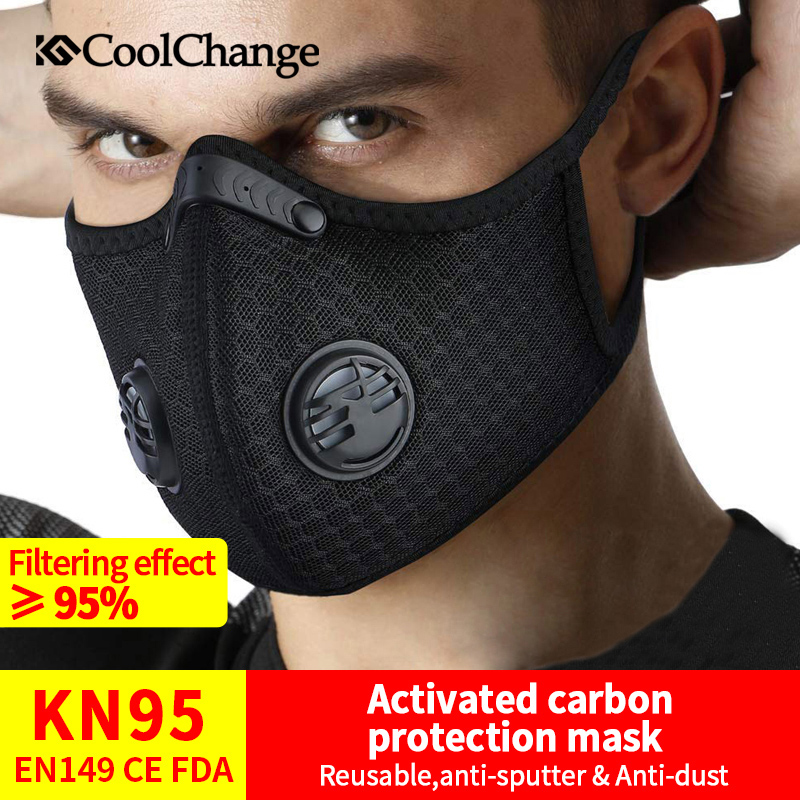 CoolChange KN95 PM2.5 Coronavirus Dust Mask Activated Carbon With Filter Anti-Pollution Cycling Sport Bicycle MTB Bike Face Mask 1