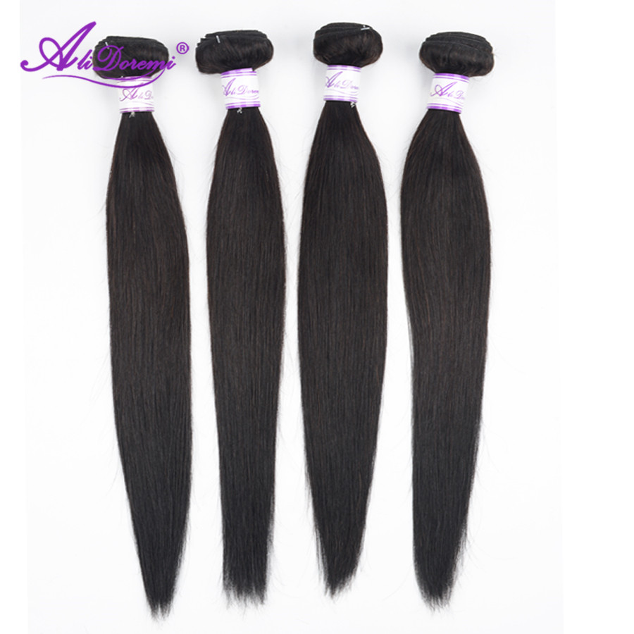 Alidoremi Brazilian Straight Hair Bundles 100% Human Hair Weave Natural Black Non Remy Hair Extension 26 28 30 Inch-in Hair Weaves from Hair Extensions & Wigs    1