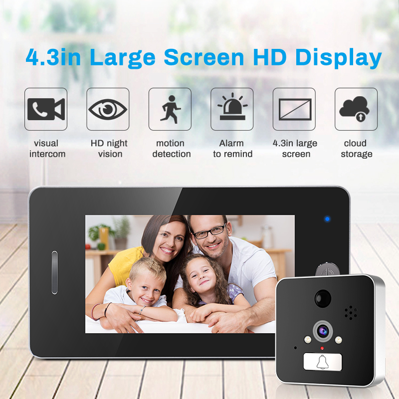 4.3inch Display Ultra Wide Angle Door Viewer WIFI Wireless APPs Doorbell HD960P Video Recroder Motion Detector Anti Theft