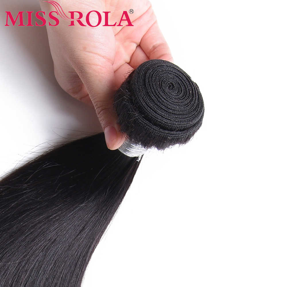 Senhorita Rola Cabelo Brasileiro Bundles Tecer Cabelo Liso Com Fecho de Cor Natural 100% Humano Extensões de Cabelo Não-Remy 8 -26 polegada