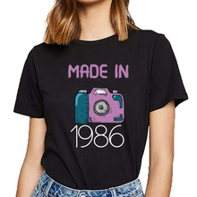 Tops T Shirt Women made in 1986 Casual Black Print Female Tshirt