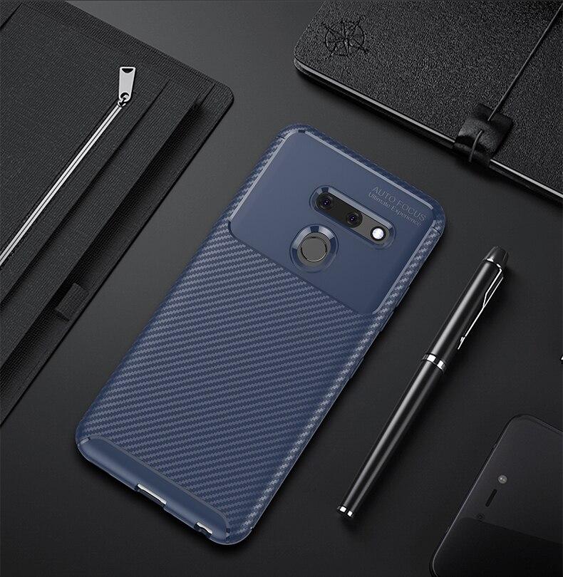 Carbon Fiber Silicone Case For LG G8 Thinq Case Shockproof Back Cover For LG V60 V50 Thinq V40 Stylo 5 Q70 K61 Cases Bumper