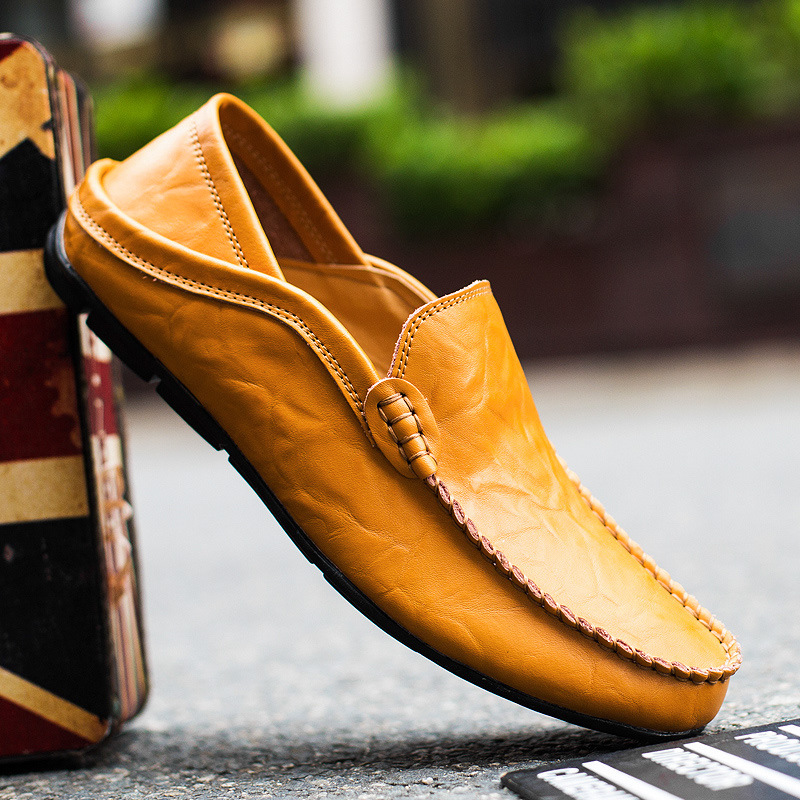 Merkmak Leather Men Casual Shoes Breathable Loafers Man Genuine Leather Moccasins Comfortable Flat Shoes Men Waterproof Footwear