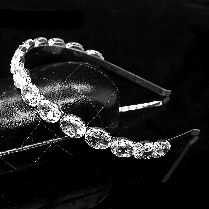 Elegant Luxury Clear Crystal Headband Rhinestone Baroque Hairband Bridal Diamante Hair Jewelry կանանց աքսեսուարների համար