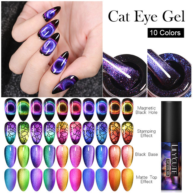 LILYCUTE 9D Chameleon Cat Eye Nail Gel
