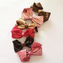 1 Pcs/lot Fashion Print Boutique Pin Grosgrain Ribbon Bows Hairpins Kids Girl Hair Clips Headwear Accessories