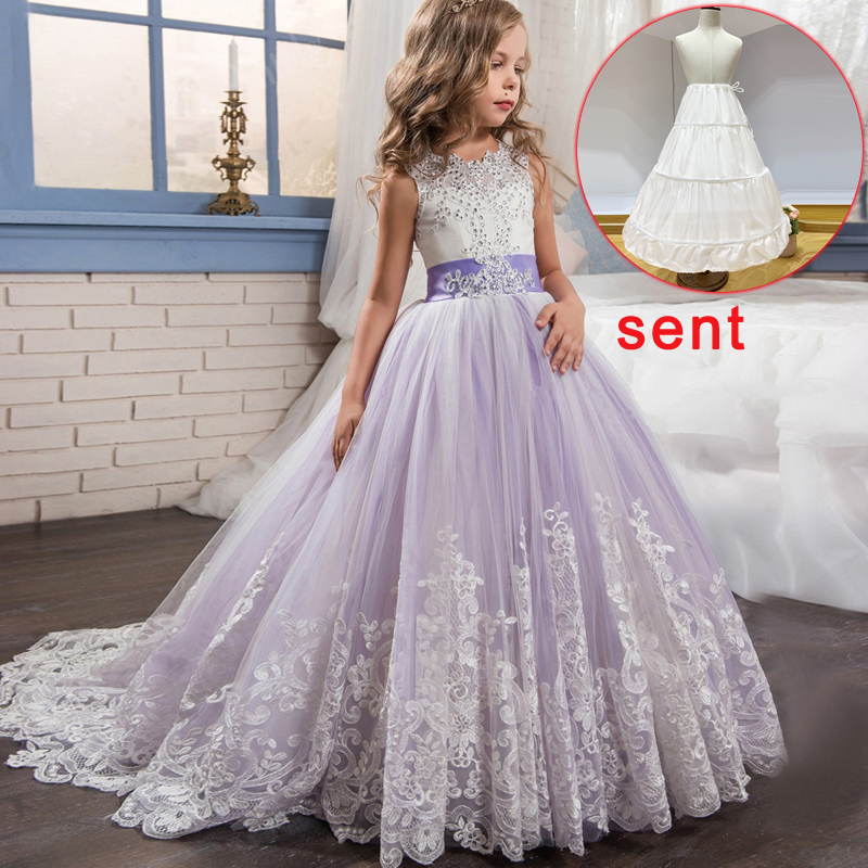 2020 Summer  Send Lining Bridesmaid Dress For Elegant Kids Dresses For Girls Children Wedding Formal Girl Party Princess Dress