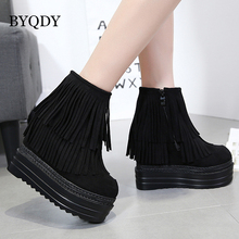 BYQDY Fashion Flock Leather Ankle Boots Women Round Toe Tassel Increasing Height Heel Boots Woman Motorcycle Boots Party Shoe fashion motorcycle boots women extreme high heel round toe dance boots sexy leather irregular ankle boots