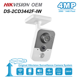 Image 1 - Hikvision OEM 4MP IR Cube HD Audio Microphone Wifi IP Camera Onvif Home Security Surveillance Without Logo H.264 DS 2CD3442F IW
