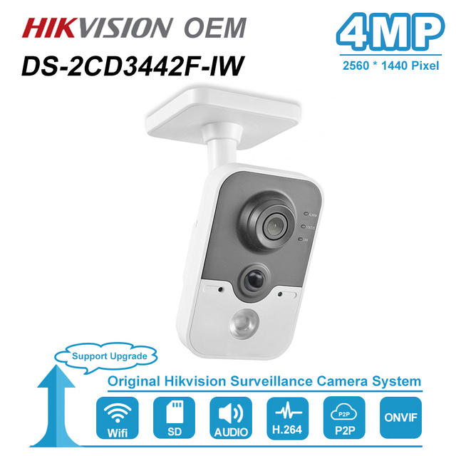 Hikvision OEM 4MP IR Cube HD Audio Microphone Wifi IP Camera Onvif Home Security Surveillance Without Logo H.264 DS 2CD3442F IW