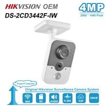 Hikvision OEM 4MP IR Cube HD mikrofon audio Wifi kamera IP Onvif bezpieczeństwo w domu nadzór bez Logo H.264 DS 2CD3442F IW