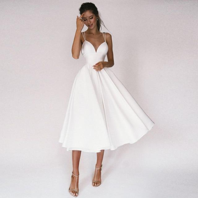 Sexy Short Wedding Dress Thin Straps Criss Cross Simple V Neck Satin Bridal Dresses A Line Vestidos De Noiva Bride Gown 1