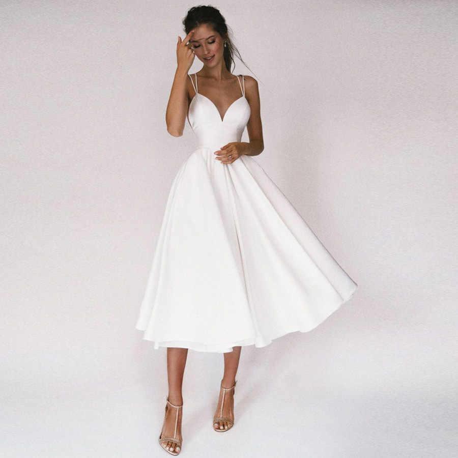 Sexy Short Wedding Dress Thin Straps Criss Cross Simple V Neck ...