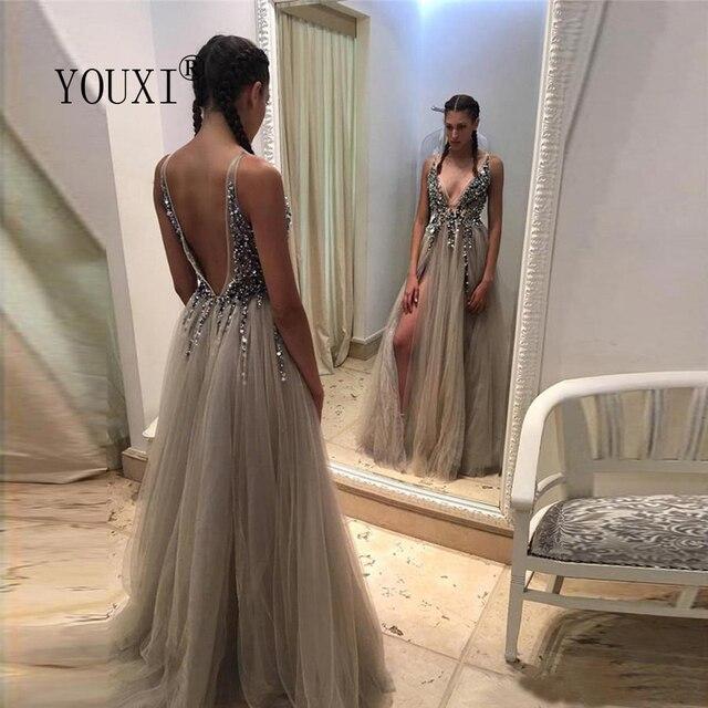 Beading Prom Dresses Long 2021 V Neck Light Gray High Split Tulle Sweep Train Sleeveless Evening Gown A-Line Backless Vestido De 2