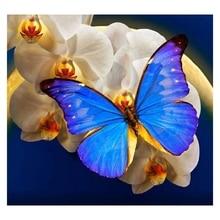 DIY Diamond Painting Blue Butterfly Handmade Rhinestone Needlework Embroidery Cross Stitch Kit Home Decor