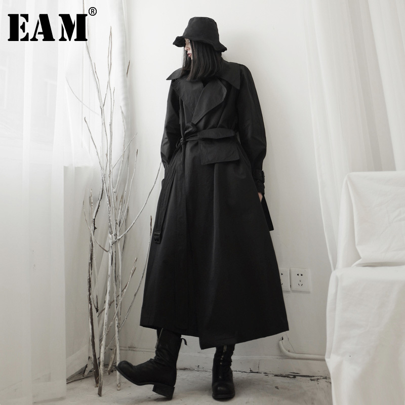 [EAM] Women Black Split Long Big Size Trench New Lapel Long Sleeve Loose Fit Windbreaker Fashion Spring Autumn 2020 19A-a538