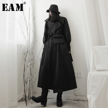 Long-Sleeve Trench EAM Windbreaker Spring Black Autumn Big-Size Fashion Women New Fit