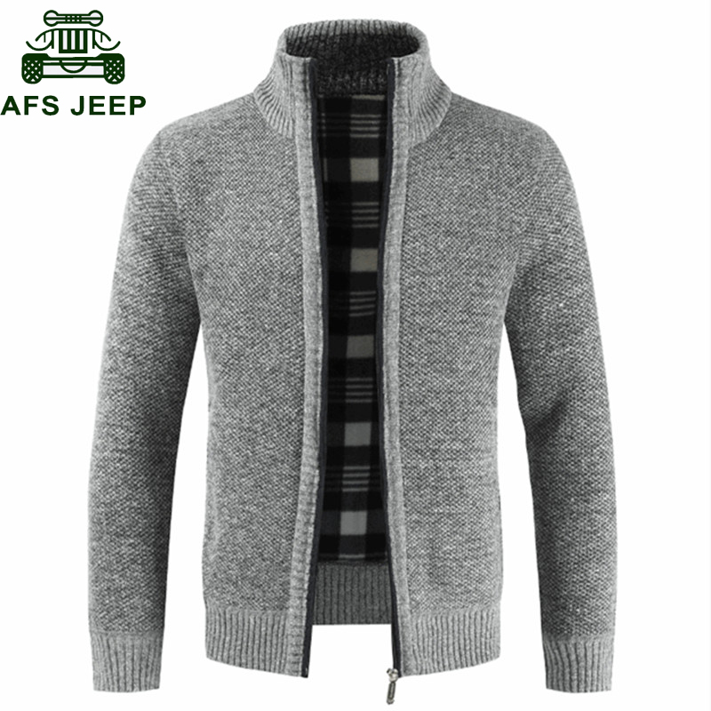 2019 Autumn Winter Cardigan Sweater Men Slim Fit Stand Collar Zipper Sweatercoat Male Solid Cotton Thick Warm Pull Homme M-3XL