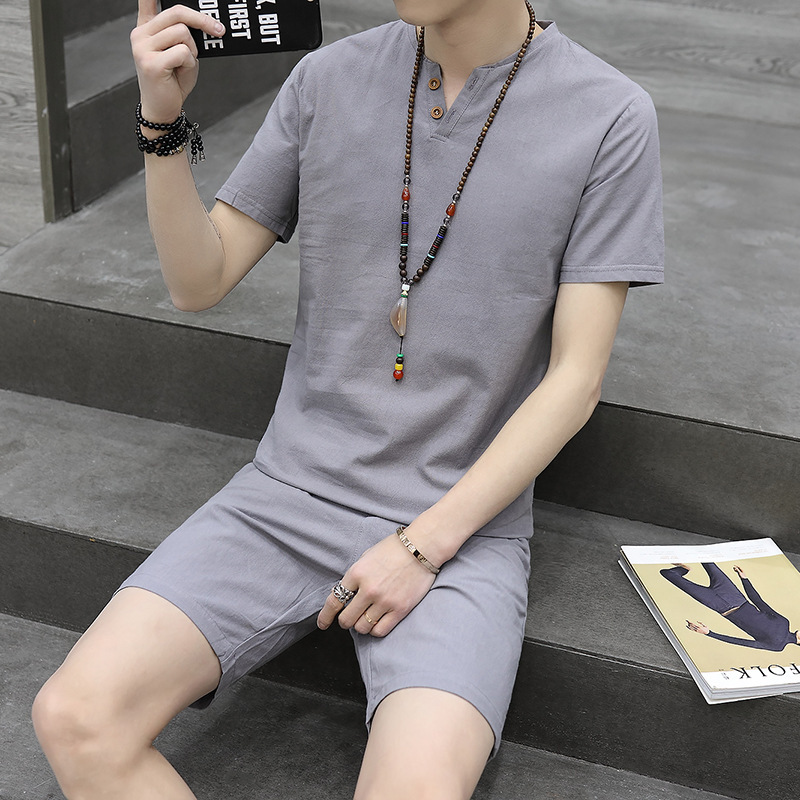 2018 Summer Fashion MEN'S Suit T-shirt Casual Cotton Linen Short Sleeve V-neck Half Sleeve Youth Students Base Shirt 2-Button