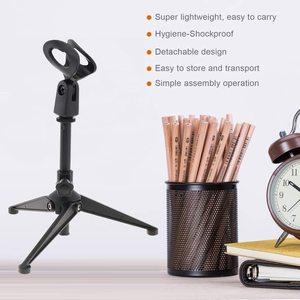 Image 2 - Mini Tragbare Tisch Tops Mikrofon Stehen Zink Legierung Metall Stativ Mic Stand Halterung Unterstützung Desktop Einstellbar Für mikrofon
