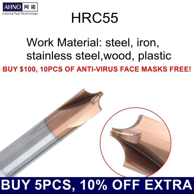 AHNO carburo di tungsteno interna R charmfer cutter per materiale di lavoro in acciaio, acciaio inox, plastica, di legno di CNC/macchina per incidere