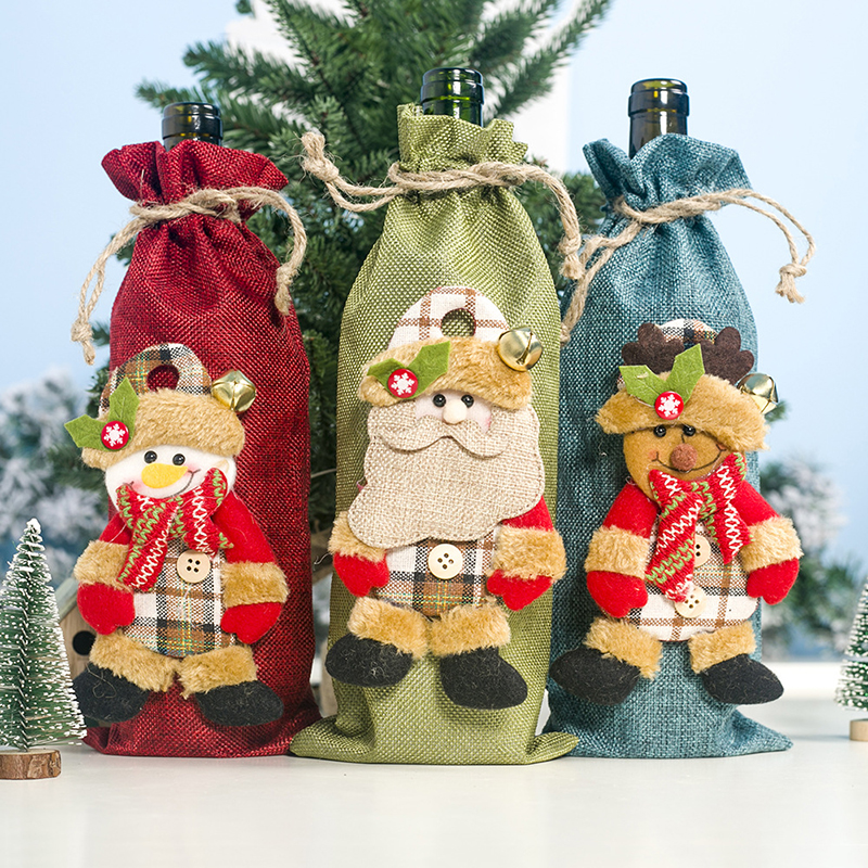 2019 New Fashion Christmas Champagne Wine Bottle Santa Claus Xmas Christmas Decorations New Year Gift Christmas Decorations