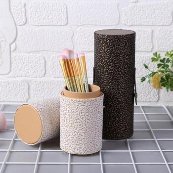 Fashion PU Leather Travel Makeup Brushes Holder Case Cosmetic Pen Box Cosmetic Brush Bag Brushes Organizer Make Up Tools 3 size empty portable travel makeup brushes round pen holder cosmetic case pu leather cup brush holder tube storage organizer
