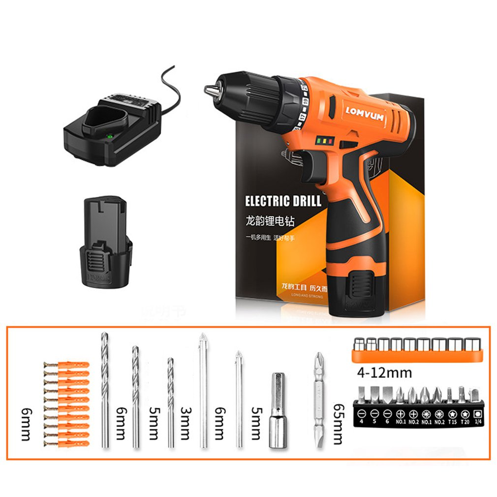 LOMVUM 12V Electric Drill Waterproof Rechargeable Multifunction Electric Screwdriver Mini Cordless Drill DZ1201001-8 US