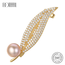 DOTEFFIL 925 Silver Gilt Brooch for Women Inlaid Zircon Pearl leaf Shaped Brooch Women Accessories Brooches Wedding Jewelry Gift cmajor flower shaped brooch with pearl jewelry silver gold color brooches for women