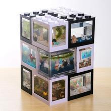Креативные многоцветные стекируемые строительные блоки, экологические мини аквариумные рыбки, маленькие рептилии, домашнее украшение для чайного стола