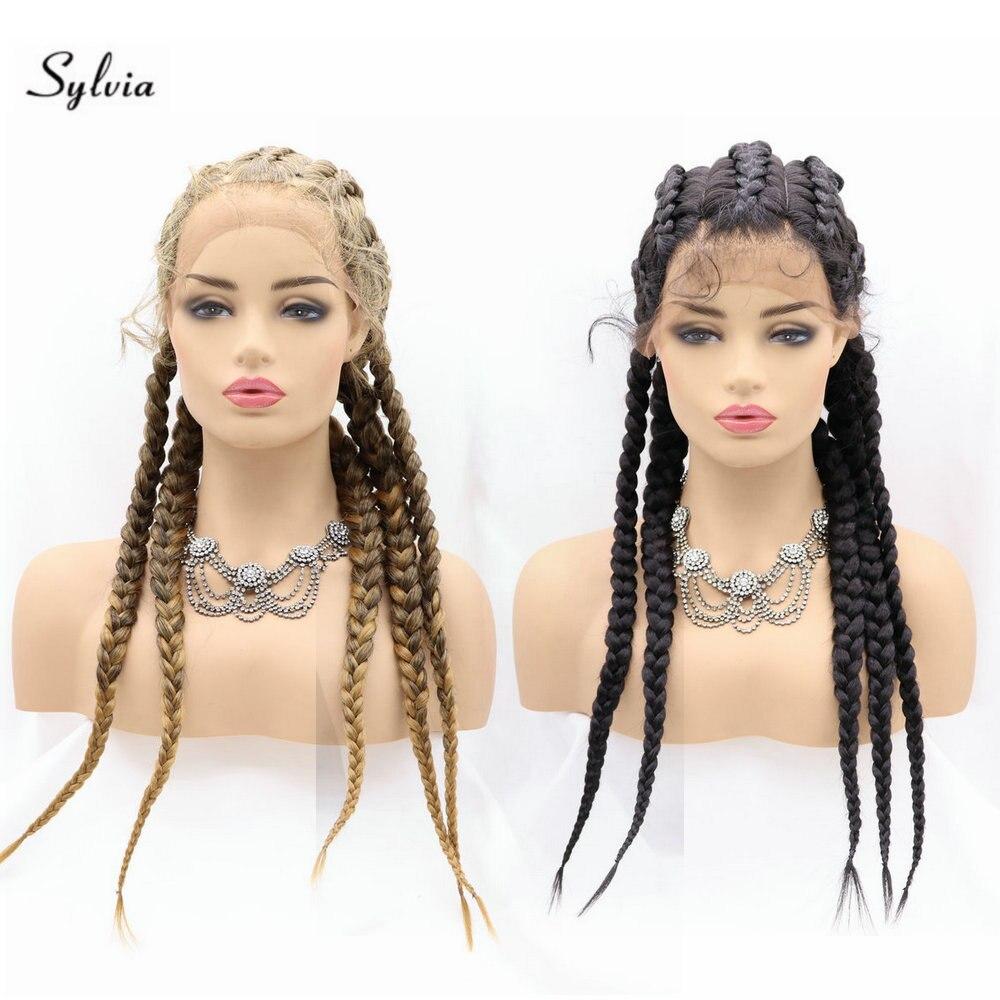 5 torção trança frente do laço perucas longas trançado perucas sintéticas com cabelo do bebê leve 1b/loira trança peruca para festa cosplay feminino