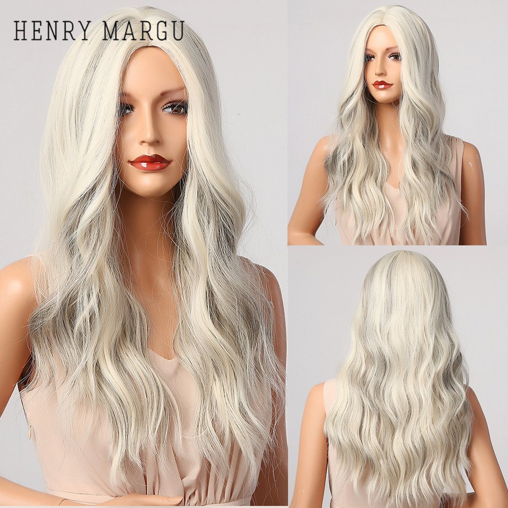 HENRY MARGU Mix Blonde White Gray Wavy Wigs Long Middle Part Costume Cosplay Party Synthetic Wigs for Women Afro Heat Resistant