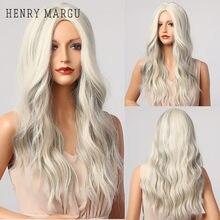 Henry margu mix loira branco cinza ondulado perucas longo meio parte traje cosplay festa perucas sintéticas para mulher afro resistente ao calor