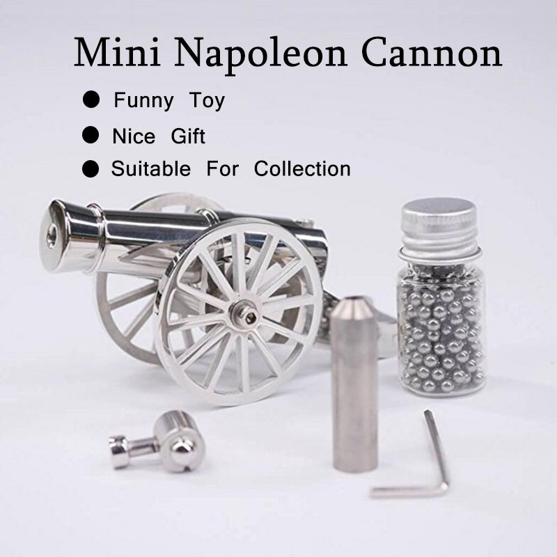 2 Size Stainless Steel Miniature Napoleon Cannon Metal Naval Desktop Model Artillery Kit For Collection Projectile Can Be Fired