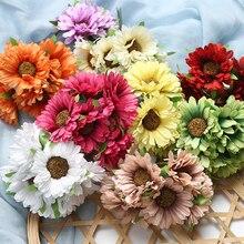 6pcs/lot 5cm Artificial Flower Silk Gerbera Sunflower Bouquet For Wedding Home Garden