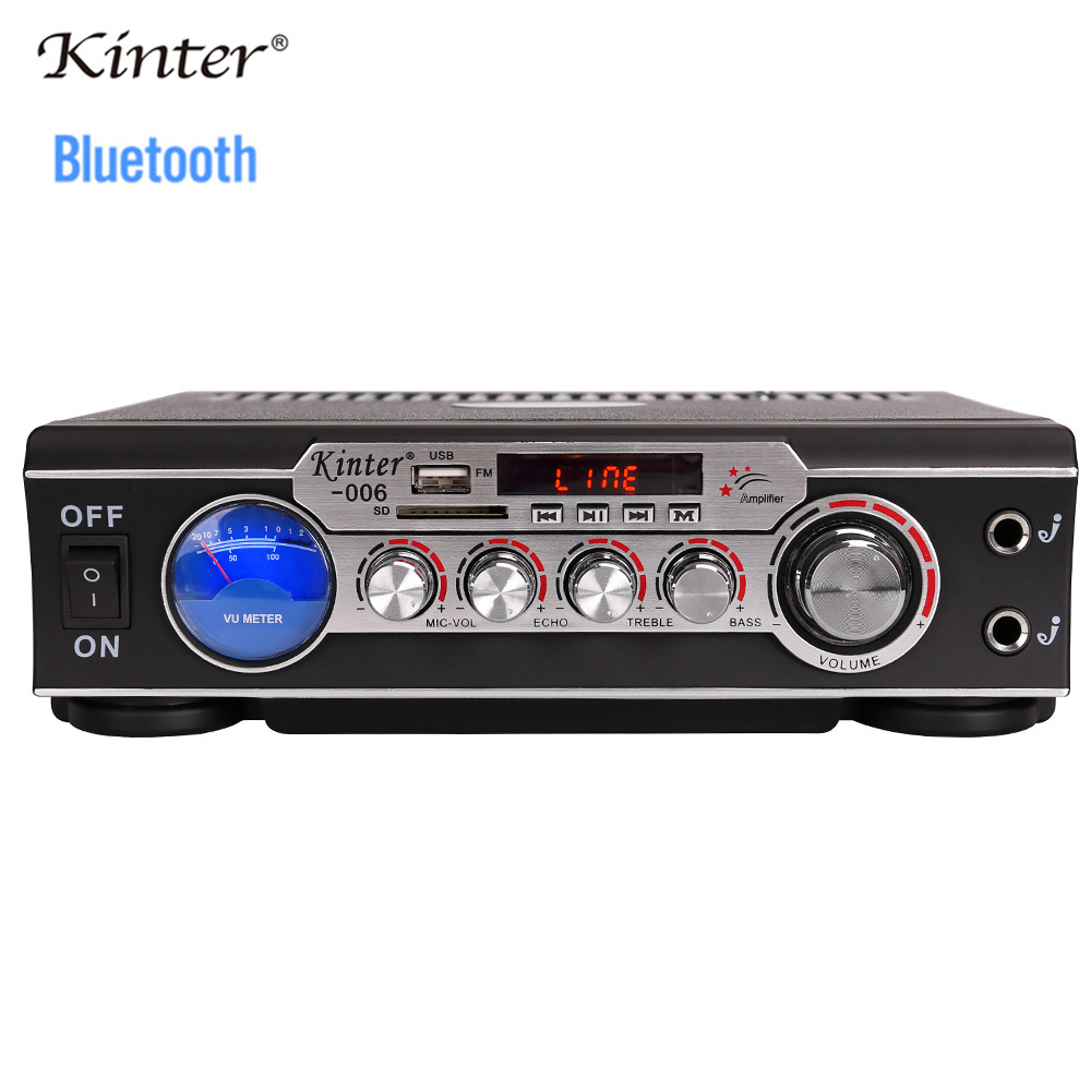 kinter-006 karaoke amplifier audio <font><b>2</b></font> channel home <font><b>amp</b></font> mic input echo bass treble AC <font><b>power</b></font> <font><b>supply</b></font> DC <font><b>12V</b></font> USB SD FM radio image