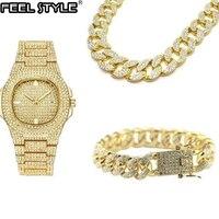 Ожерелье + часы + браслет в стиле хип-хоп, кантри, кубинская цепочка, вымощенные стразы, CZ Bling Rapper для Мужчин, Ювелирные изделия