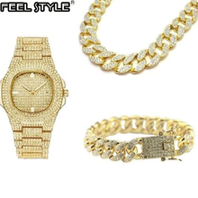 Gold Silver Necklace +Watch+Bracelet Hip Hop Miami Curb Cuban Chain Iced Out Paved Rhinestones CZ Bling Rapper For Men Jewelry(China)