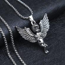 HNSP 316L Stainless Steel Chain Cupid Angel Pendant Necklace For Men Women Fashion Jewelry Gift women silver luxury 316l stainless steel necklace fashion cross heart chain pendant jewelry accessories friendship necklace