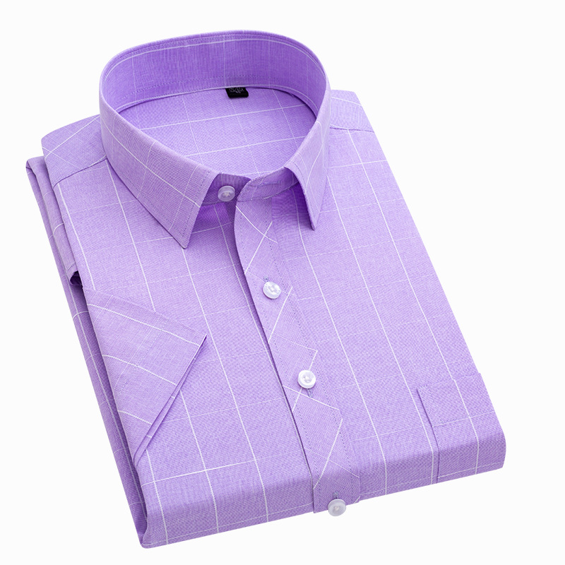 2020 New Arrival Summer Men Shirt Short Sleeve No-Iron Striped Shirts Formal Causal Business Work Shirts Brand Clothes DS404