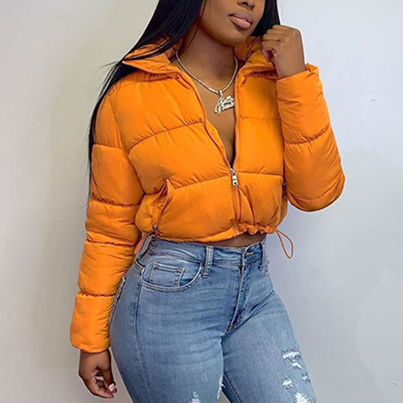 2020 Cropped Puffer Jacket for Women Winter Clothes Warm Parka Fashion Short Outwear Long Sleeve Zip Thick Down Bubble Coats|Down Coats| - AliExpress
