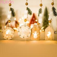 HUIRAN Merry Christmas Wooden House Light Ornaments Decorations for Home Xmas Decor Pendant Gift New Year