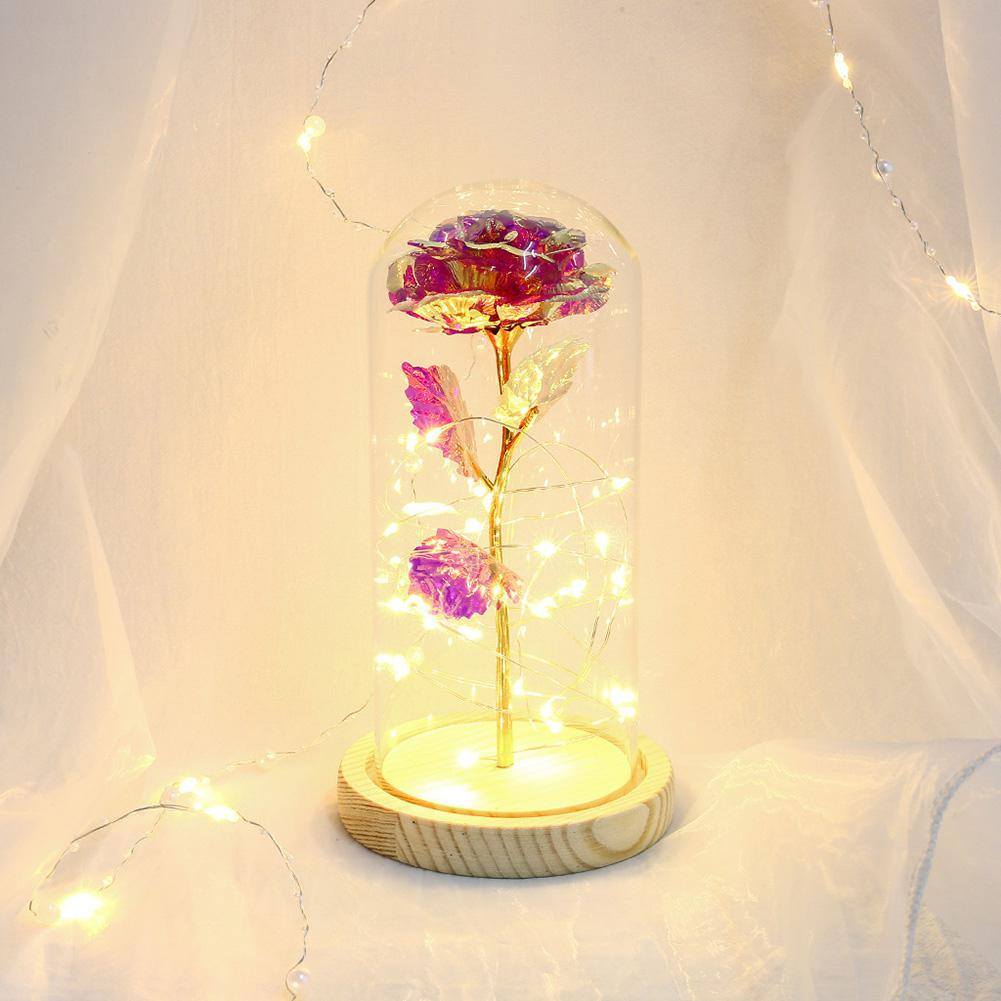 Gold Foil Rose LED Light Strings Glass Dome Fairy Flower Lights New Year Wedding Decoration Valentine's Day Gift Desk Ornament