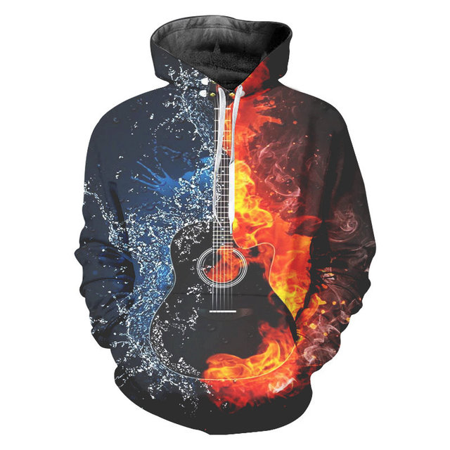 Hommes 3D Imprimé Guitare deau dincendie Sweaters À Capuche Graphique Sweat-Shirts À Manches Longues Pull À Capuche Avec poche Unisexe Streetwear À Capuche