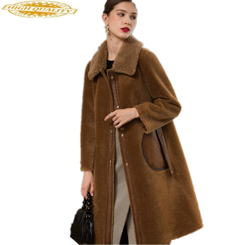 Women Real Wool Fur Coat Female Camel Sheep Shearing Coats 2020 Long Thick Warm Winter Jacket Womens Clothing 18123