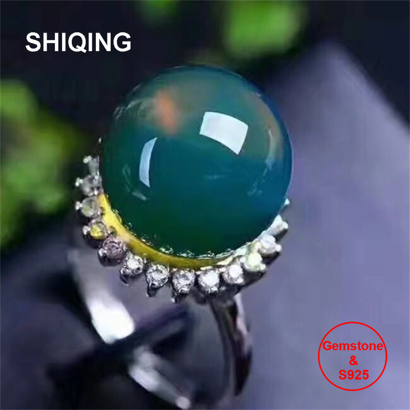 SHIQING драгоценный камень Природа синий янтарь различных цветов цветок драгоценный 925 серебро женское кольцо в подарок